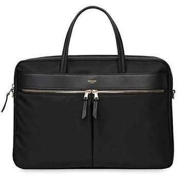 """Knomo Mayfair Hanover Briefcase Schutzhülle Case Tasche 15"""" Leder Nylon, black"""