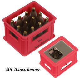 Macma Flaschenöffner mit Namensgravur - in der Form eines Bierkastens - Farbe: rot