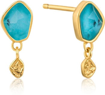 Ania Haie Turquoise Drop Gold Stud Earrings