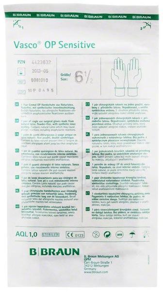 B. Braun Vasco Sensitive OP-Latexhandschuhe puderfrei Gr. 6,5 (2 Stk.)