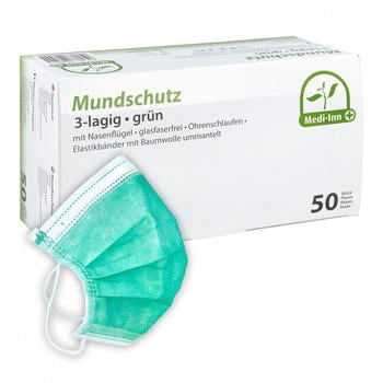 Medi Inn OP-Maske mit Bändern grün (50 Stk.)
