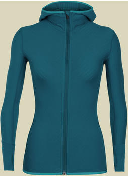 Icebreaker Descender long sleeve Zip Hood Women kingfisher/arctic teal