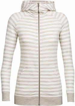 Icebreaker Crush Long Sleeve Zip Hood Women fawn heathersnow stripe