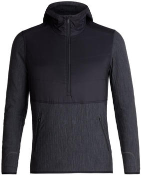 Icebreaker MerinoLOFT Descender Hybrid Long Sleeve Half Zip Hood Men blackjet heather