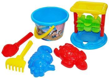 polesie-wader-eimergarnitur-mit-sandmuehle-strandspielzeug-mehrfarbig