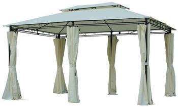 Outsunny Gartenpavillon 3 x 4 m inkl. Seitenteile milchweiß/schwarz