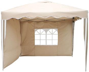 Linder Exclusiv Alu Garten Faltpavillon mit Seitenteilen 3 x 3 m beige/weiß