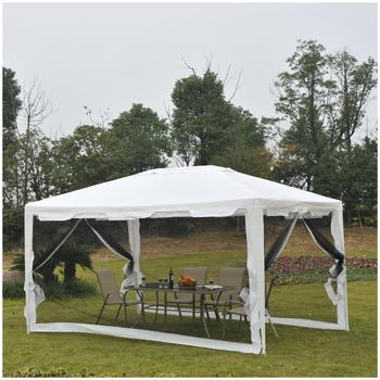 Outsunny Pavillon weiß mit Moskitonetz (4 x 3 m)