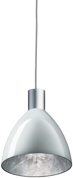 BRUCK Originelle LED Pendelleuchte Silva in Matt-chrom, außen weiß, innen silber, Ø160 mm