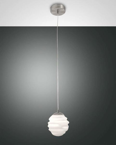 Fabas Luce Hängelampe nickel satiniert geblasenes Glas weiß