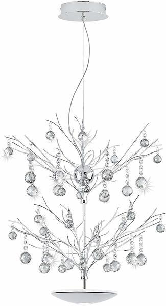 Eglo Kristall LED Hängeleuchte Sorges 1800 + 650lm Chrom, Klar