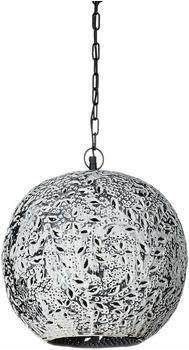 Relaxdays Hängelampe Kugel mit Patina Shabby Chic groß H x D: ca. 148 x 36 cm Pendelleuchte mit feinem Blatt und Pflanzen Muster Pendellampe mit Industrial Design Metallkette für 1 Leuchtmittel, Kugel 36 cm