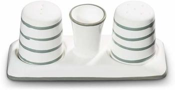 Gmundner Keramik Manufaktur Graugeflammt Salz/Pfeffer Set bauchig