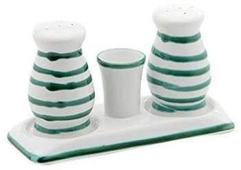 Gmundner Keramik Salz/Pfeffer Set bauchig Grün geflammt