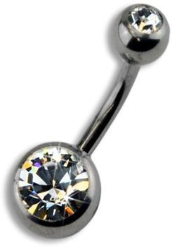 ZEEme Bauchnabelpiercing mit weißem Kristall (804520R)