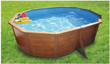Kwad Stahlwandbecken-Set Steely-Set des Luxe Wood oval 6,1 x 3,6 x 1,2 m