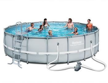 Bestway Power Steel Set Frame Pool 427x250x100cm oval grau (mit Filterpumpe) (56620_20)