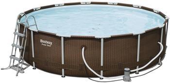 Bestway Steel Pro Frame Pool Set Ø 427 x 107 cm Rattan mit Kartuschenfilter (56647)