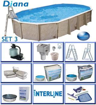 interline Ovalbecken-Set Pool Diana 7,30 m x3,60m x1,32 m, Set 3