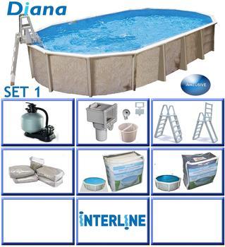 interline Ovalbecken-Set Pool Diana 7,30 m x3,60m x1,32 m, Set 1