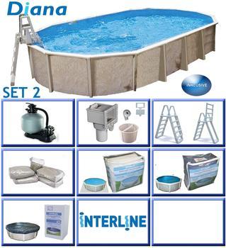 interline Ovalbecken-Set Pool Diana 7,30 m x3,60m x1,32 m, Set 2