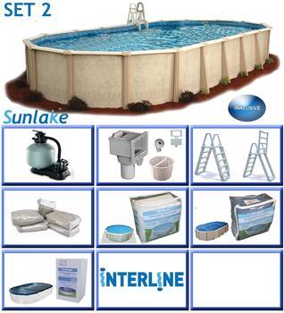 interline Ovalbecken-Set Sunlake 7,30x 3,60x 1,32 m,Set 2
