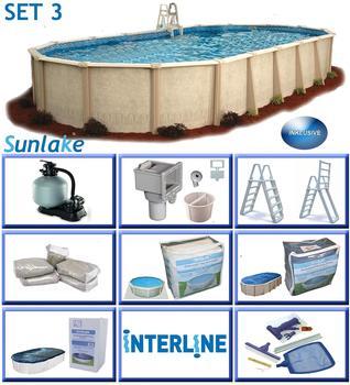 interline Ovalbecken-Set Sunlake 7,30mx 3,60mx 1,32 m,Set 3