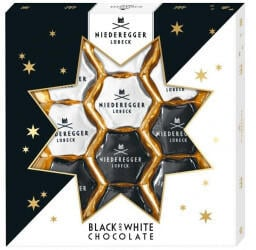 Niederegger Black & White Weihnachtssterne (125g)