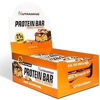 Nutramino Knuspriger leckerer Erdnuss & Karamel Eiweiß Riegel mit Protein pro Bar, 12 Stück