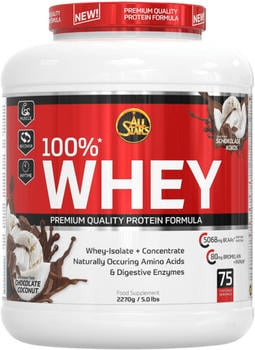 All Stars 100% Whey Protein Chocolate Coconut Pulver 2270 g