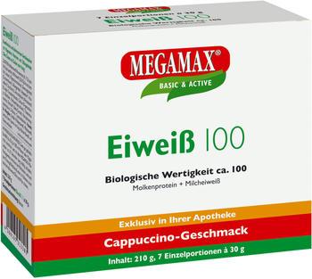 MEGAMAX Eiweiß 100 Cappuccino Pulver 7 x 30 g