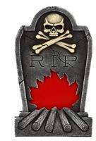 atosa Grabstein Flammen mit Skelett Halloween Party-Deko rot-grau 34x56cm Einheitsgröße