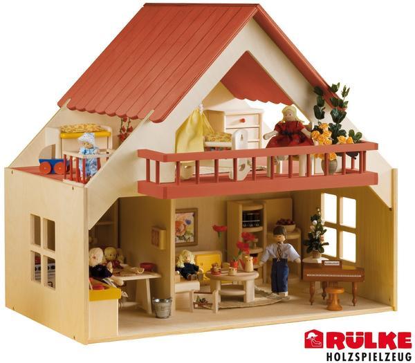 Rülke Holzspielzeug Puppenhaus inkl. Balkon rot (23193)