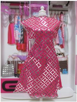Mattel Barbie - Trend Mode für Barbie Puppe Kleidung - Kleid mit Glanz Print