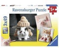 Ravensburger Witzige Tierportraits. Kinderpuzzle 3 x 49 Teile