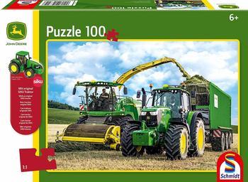 Schmidt Spiele John Deere Traktor 6195M und Feldhäcksler 8500i, mit Siku Traktor Kinderpuzzle