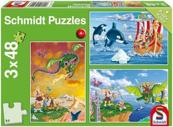 Schmidt Spiele 3 x 48 Teile Schmidt Spiele Kinder Puzzle Wikinger 56224