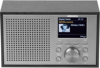 "Medion P66099 DAB+ UKW Radio (Retro Look, 2,4"" Farbdisplay, 20 Watt, RDS, Display Dimmer, Digitaler Soundprozessor, Einschlafautomatik Sleep) Silber"