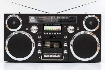 GPO Brooklyn 1980s-Style Boombox - CD, Cassette, FM & DAB+ Radio, USB, Bluetooth Receiver - Black