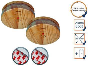 Smartwares 2er-Set optische Rauchmelder in Holzoptik inkl. Magnethalter, 85dB Alarm