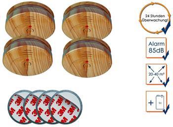 Smartwares 4er-Set optische Rauchmelder in Holzoptik inkl. Magnethalter, 85dB Alarm