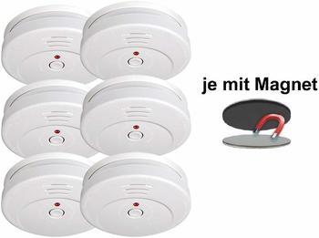 Smartwares 6er-Set Rauchmelder mit Magnethalter, 85dB Alarm, TÜV zertifiziert