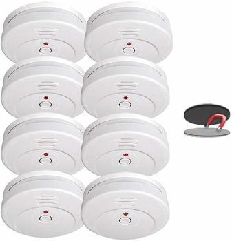 Smartwares 8er-Set Rauchmelder mit Magnethalter, 85dB Alarm, TÜV zertifiziert