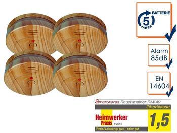 smartwares 4er-SET Rauchmelder in Holzoptik mit austauschbarer 5 Jahres Batterie