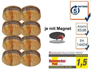 smartwares 8er-SET Rauchmelder in Holzoptik mit 5 Jahres Batterie & Easy Magnetmontage
