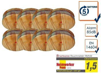 smartwares 8er-SET Rauchmelder in Holzoptik mit austauschbarer 5 Jahres Batterie