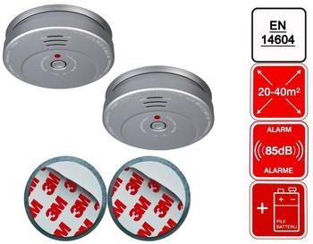 Smartwares 2er-Set Rauchmelder Aluminiumoptik inkl. 2 x Magnethalter, 85dB Alarm, En14604