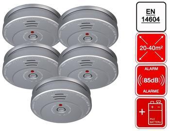 Smartwares 5er-Set Rauchmelder Feuermelder Aluminiumoptik, 85dB Alarm, En14604