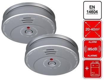 Smartwares 2er-Set Rauchmelder Feuermelder Aluminiumoptik, 85dB Alarm, En14604