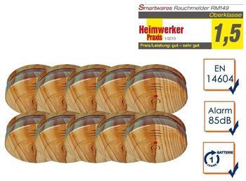 Smartwares 10er-Set optische Rauchmelder in Holzoptik, 85dB Alarm, inkl. Batterie